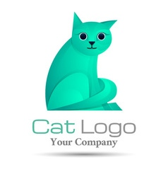 Stylized silhouette cat volume logo colorful 3d vector