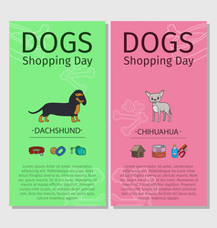 dachshund chihuahua dog shopping day vector image