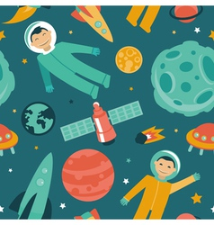 Seamless pattern with space and planets vector