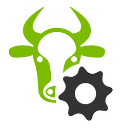 Cow options gear flat icon vector