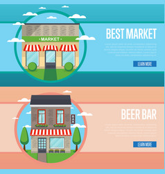 Best market and beer bar banner set vector