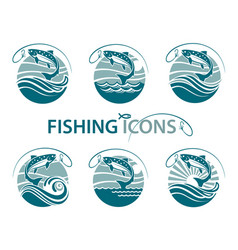 fishing emblems set vector image