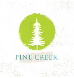 Pine creek eco yoga retreat rough sign concept on vector