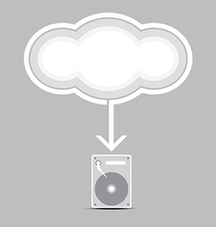 cloud computing into harddrive vector image