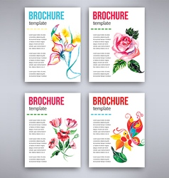 Big set of flyers template with watercolor flowers vector