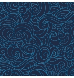 Dark blue waving curls marine sea pattern ocean vector
