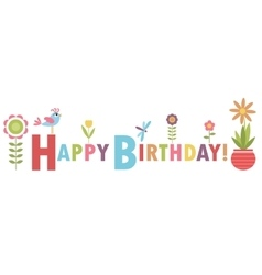 Birthday card with flowers and bird vector image