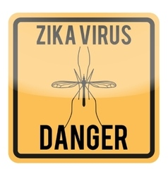 Zika virus warning square sign vector