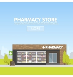 Facade of pharmacy in the urban space the sale of vector