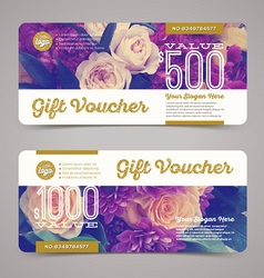 Gift voucher template with floral background vector