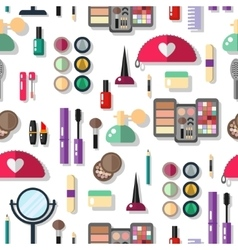 Seamless background with cosmetics flat icons vector