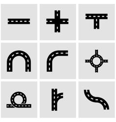 Black road elements icon set vector