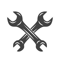 Two crossed wrenches Logo elements Black and white vector image