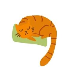 Cartoon sleeping awesome cat mascot vector image