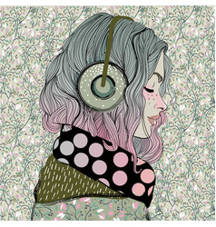 Beautiful girl with headphones vector