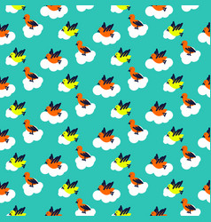Birds on clouds turquoise blue pattern seamless vector