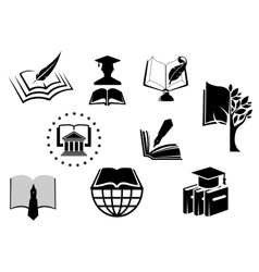 Black and white education or knowledge icons vector image
