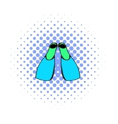 Blue flippers icon comics style vector image