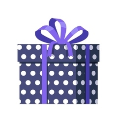 Blue Gift Box with White Dots Ribbon and Bow vector image vector image