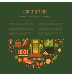 Cartoon eco tourism camping concept vector