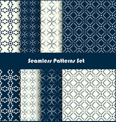 dotted lines seamles spattern set vector image