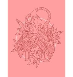 Flamingo bird tattoo design vector
