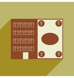 Flat with shadow icon house and bill vector