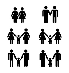 gay family icons over white vector image vector image