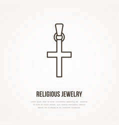gold cross religious jewelry flat vector image vector image