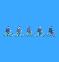 Group of mix race business men wearing suits ride vector