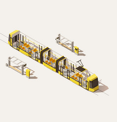 isometric low poly low-floor tram vector image