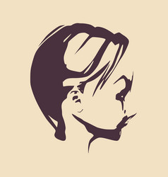 little girl profile silhouette vector image vector image