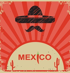 Mexican style poster with sombrero on old paper vector image