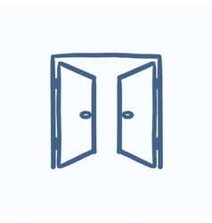Open doors sketch icon vector image vector image