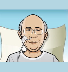 patient with breathing tube vector image