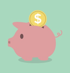 Piggy bank with a coin vector image vector image