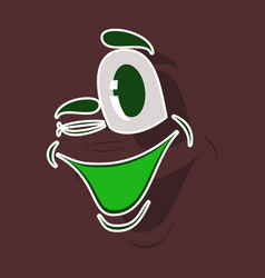 Realistic paper sticker on theme cartoon face vector