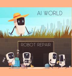 robots repair horizontal banners set vector image vector image
