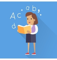 Schoolgirl with book isolated character vector