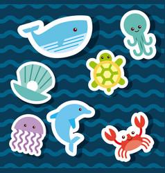 sea life icons set flat draw vector image