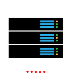 Server icon flat style vector