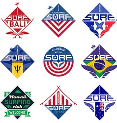 Set of vintage surfing logo design for tees or vector image