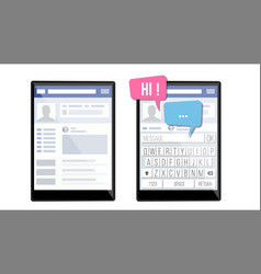 social page on tablet speech bubbles application vector image vector image