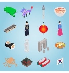 South Korea set icons isometric 3d style vector image vector image