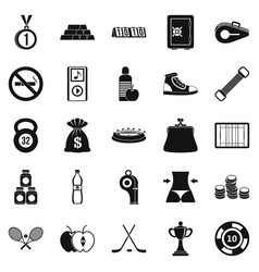 Sports nutrition icons set simple style vector