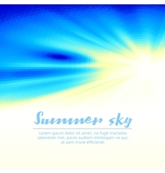 Summer sky with sun background vector image