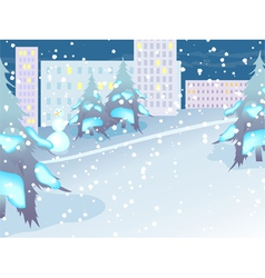 Urban landscape night city in snow vector