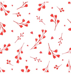 Watercolor red branches with hearts seamless patte vector