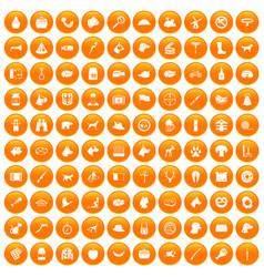 100 dog icons set orange vector