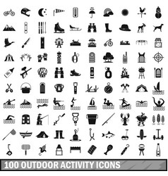100 outdoor activity icons set simple style vector